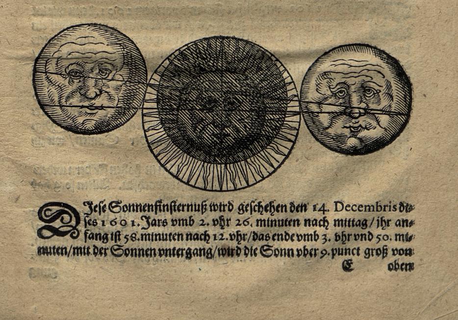 Schematische Darstellung der Sonnenfinsternis von 1691